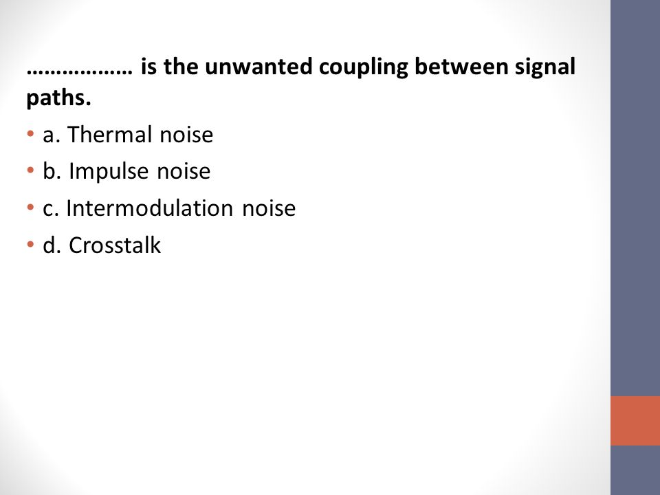 ……………… is the unwanted coupling between signal paths.