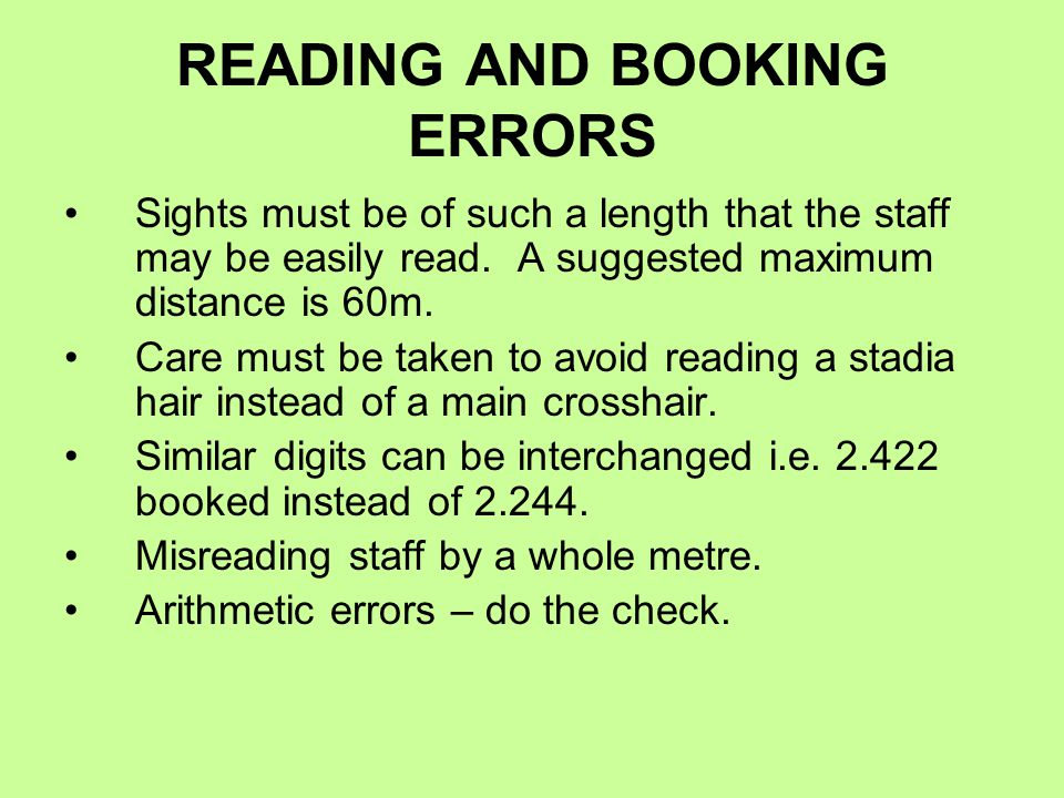 READING AND BOOKING ERRORS