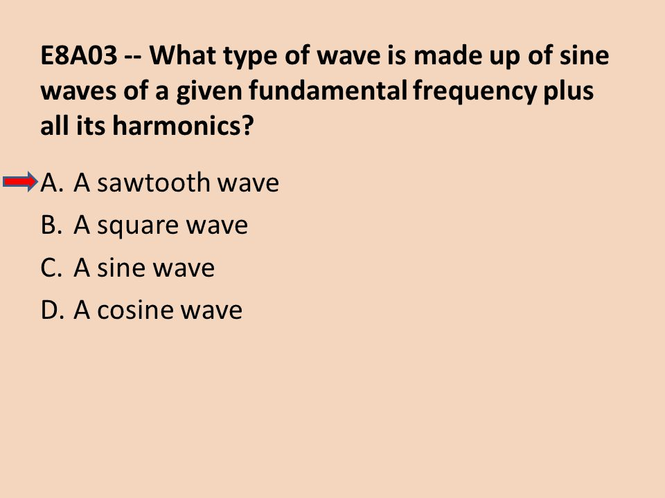 E8A03 -- What type of wave is made up of sine waves of a given fundamental frequency plus all its harmonics