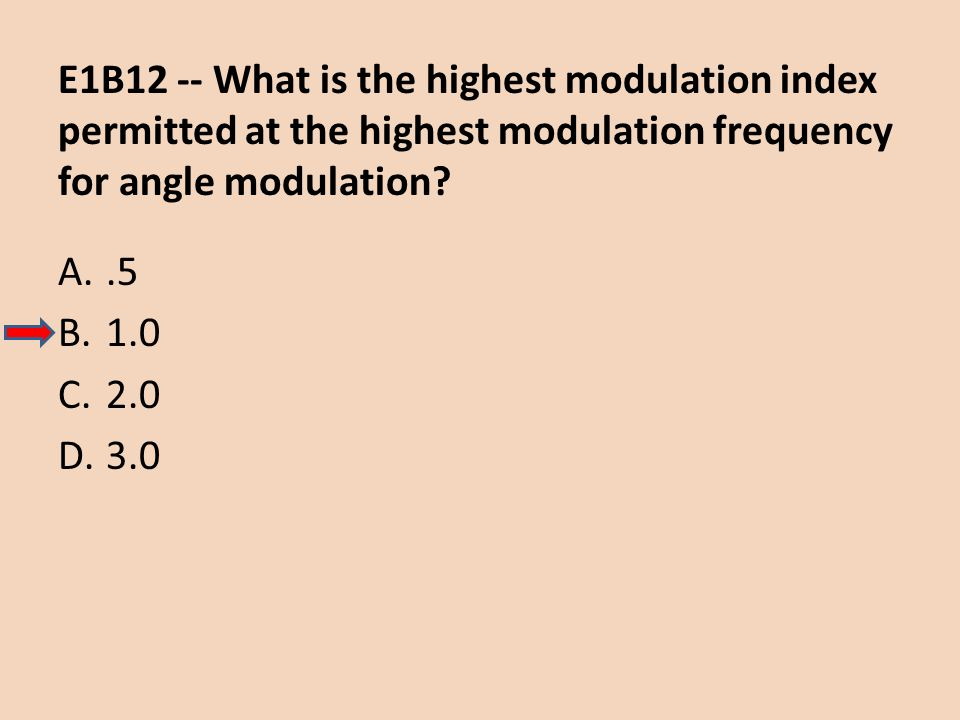 E1B12 -- What is the highest modulation index permitted at the highest modulation frequency for angle modulation