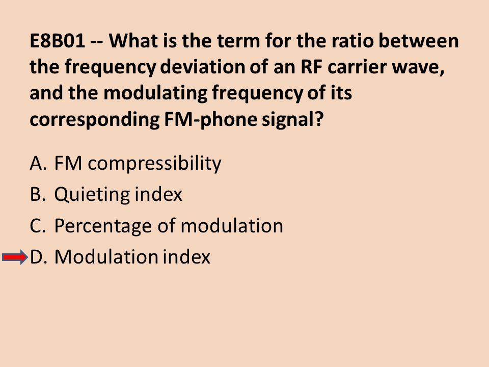 E8B01 -- What is the term for the ratio between the frequency deviation of an RF carrier wave, and the modulating frequency of its corresponding FM-phone signal