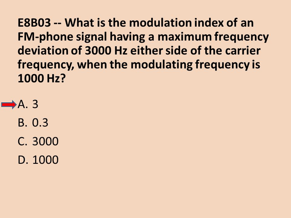 E8B03 -- What is the modulation index of an FM-phone signal having a maximum frequency deviation of 3000 Hz either side of the carrier frequency, when the modulating frequency is 1000 Hz