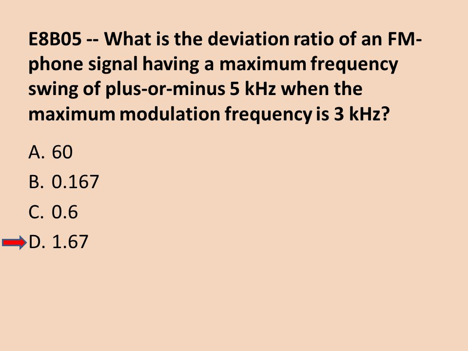 E8B05 -- What is the deviation ratio of an FM-phone signal having a maximum frequency swing of plus-or-minus 5 kHz when the maximum modulation frequency is 3 kHz