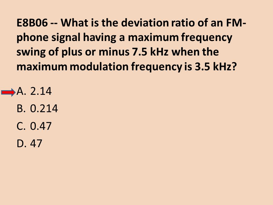E8B06 -- What is the deviation ratio of an FM-phone signal having a maximum frequency swing of plus or minus 7.5 kHz when the maximum modulation frequency is 3.5 kHz