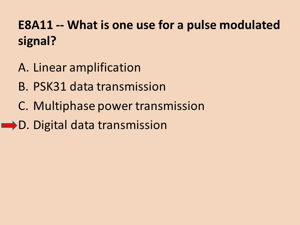 E8A11 -- What is one use for a pulse modulated signal