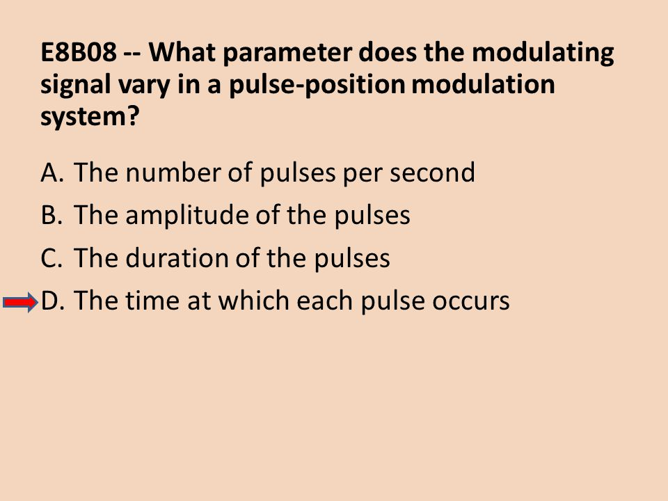 E8B08 -- What parameter does the modulating signal vary in a pulse-position modulation system
