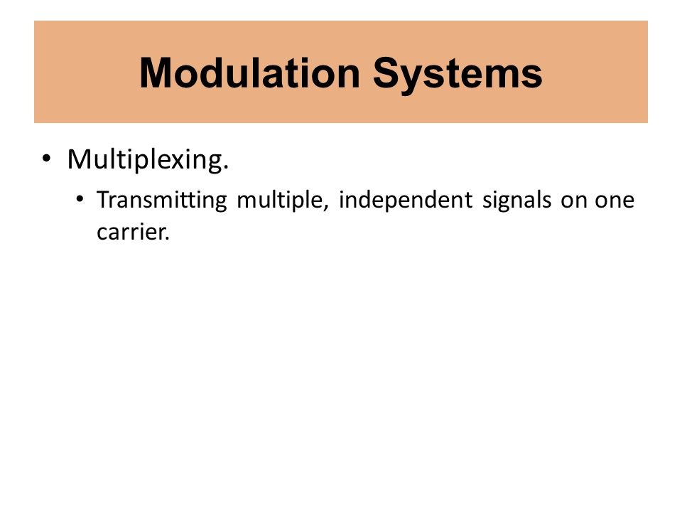 Modulation Systems Multiplexing.