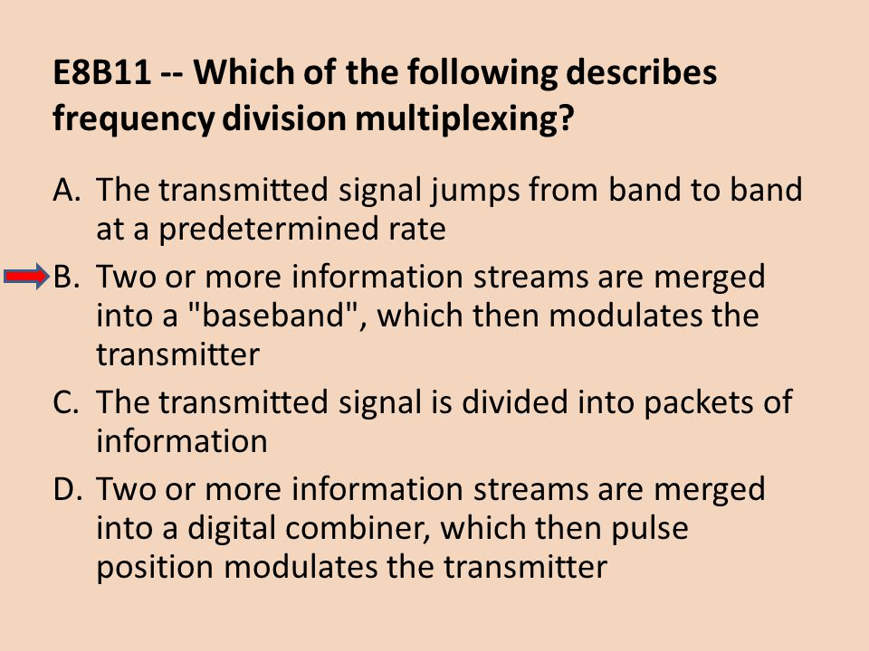 E8B11 -- Which of the following describes frequency division multiplexing