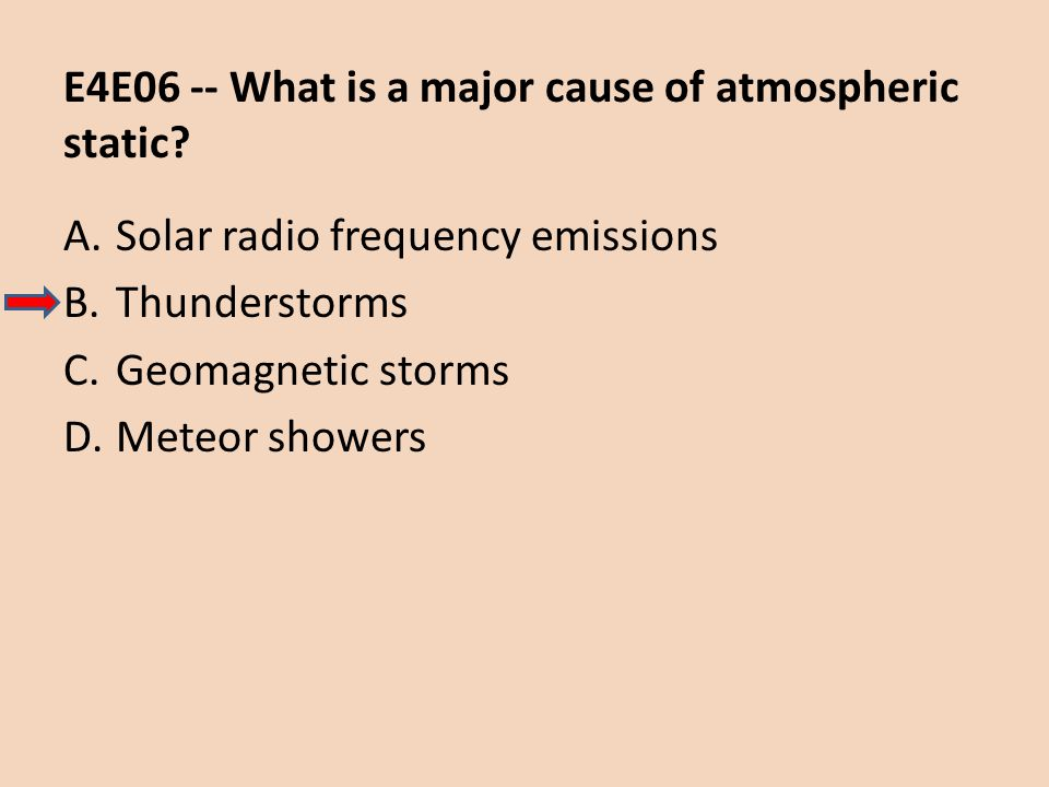 E4E06 -- What is a major cause of atmospheric static