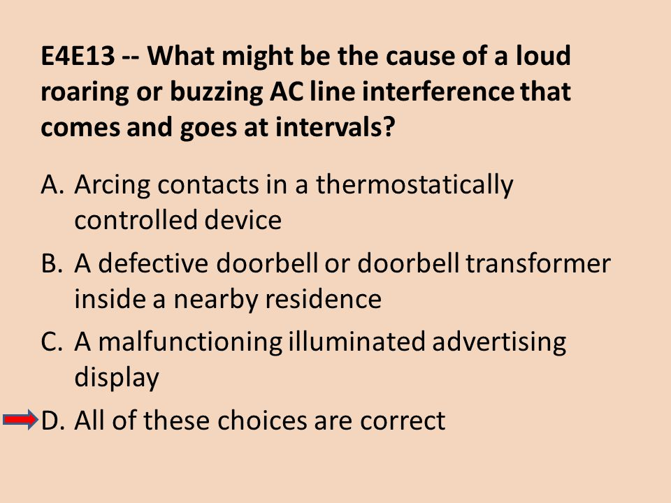 E4E13 -- What might be the cause of a loud roaring or buzzing AC line interference that comes and goes at intervals
