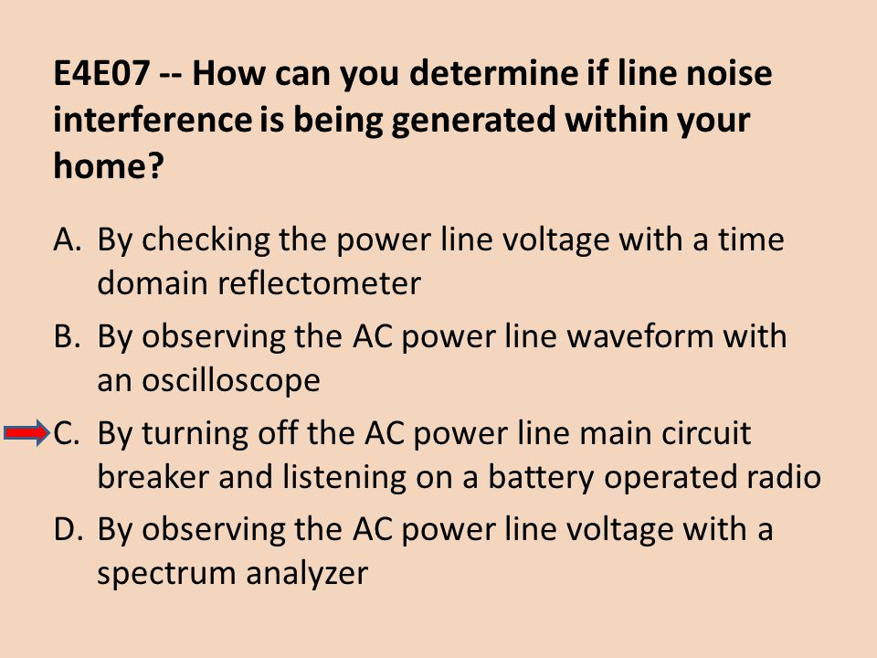 E4E07 -- How can you determine if line noise interference is being generated within your home