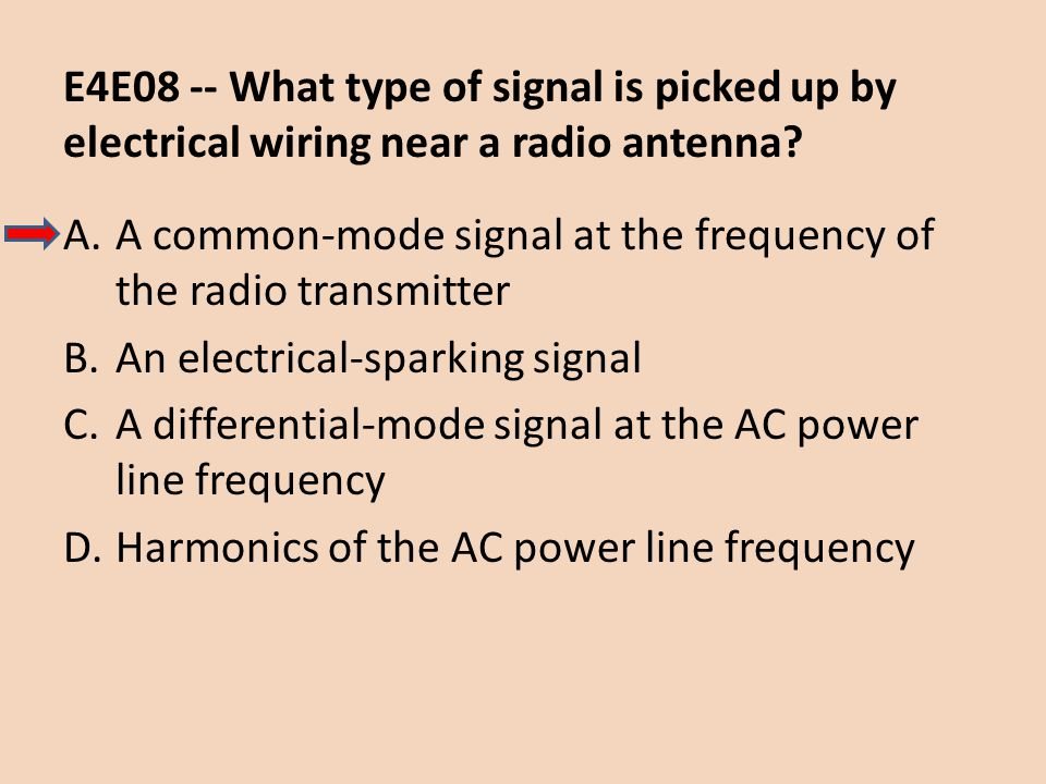 E4E08 -- What type of signal is picked up by electrical wiring near a radio antenna