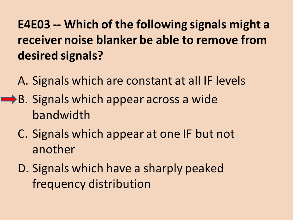 E4E03 -- Which of the following signals might a receiver noise blanker be able to remove from desired signals