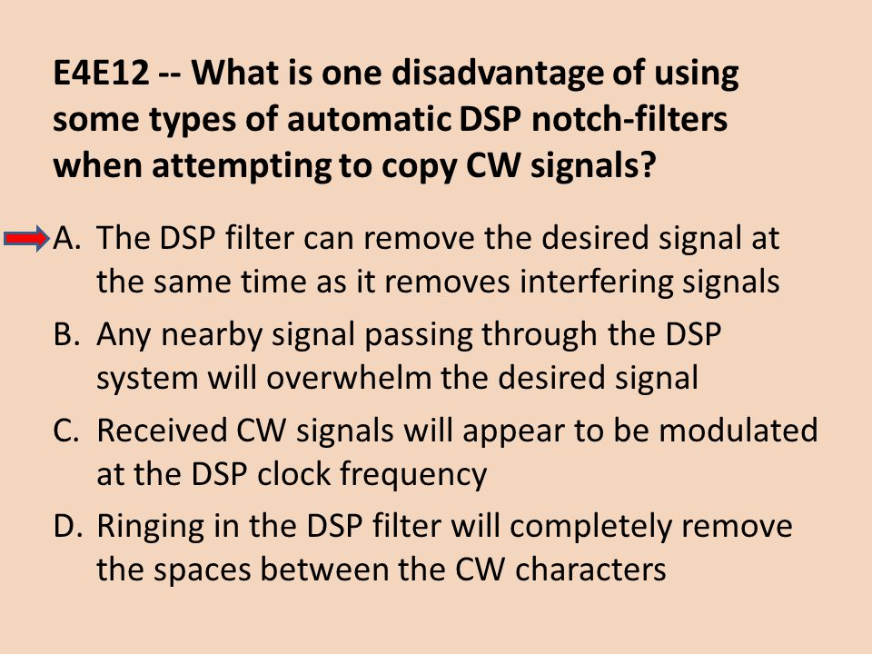 E4E12 -- What is one disadvantage of using some types of automatic DSP notch-filters when attempting to copy CW signals