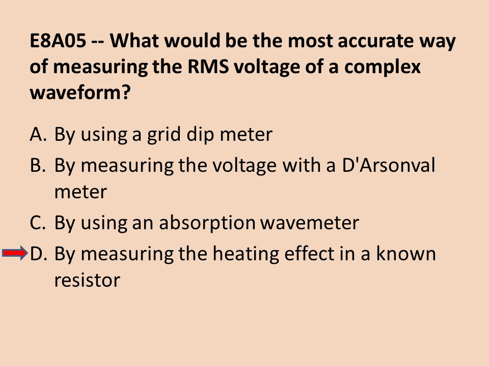 E8A05 -- What would be the most accurate way of measuring the RMS voltage of a complex waveform