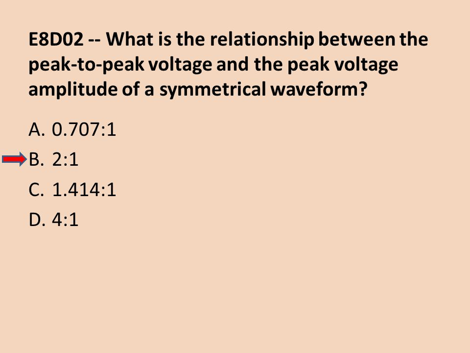 E8D02 -- What is the relationship between the peak-to-peak voltage and the peak voltage amplitude of a symmetrical waveform