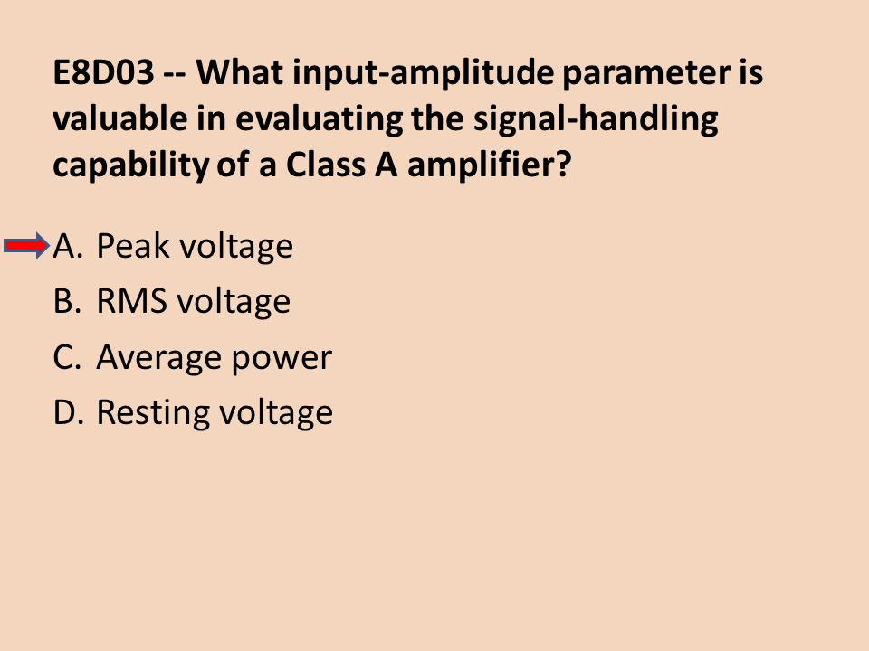 E8D03 -- What input-amplitude parameter is valuable in evaluating the signal-handling capability of a Class A amplifier