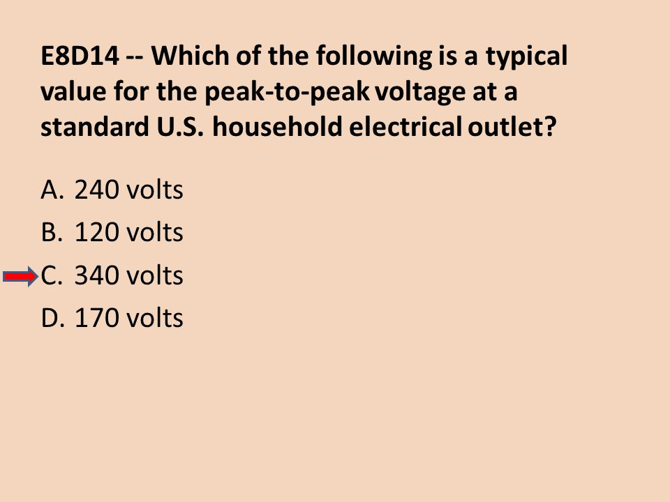 E8D14 -- Which of the following is a typical value for the peak-to-peak voltage at a standard U.S. household electrical outlet