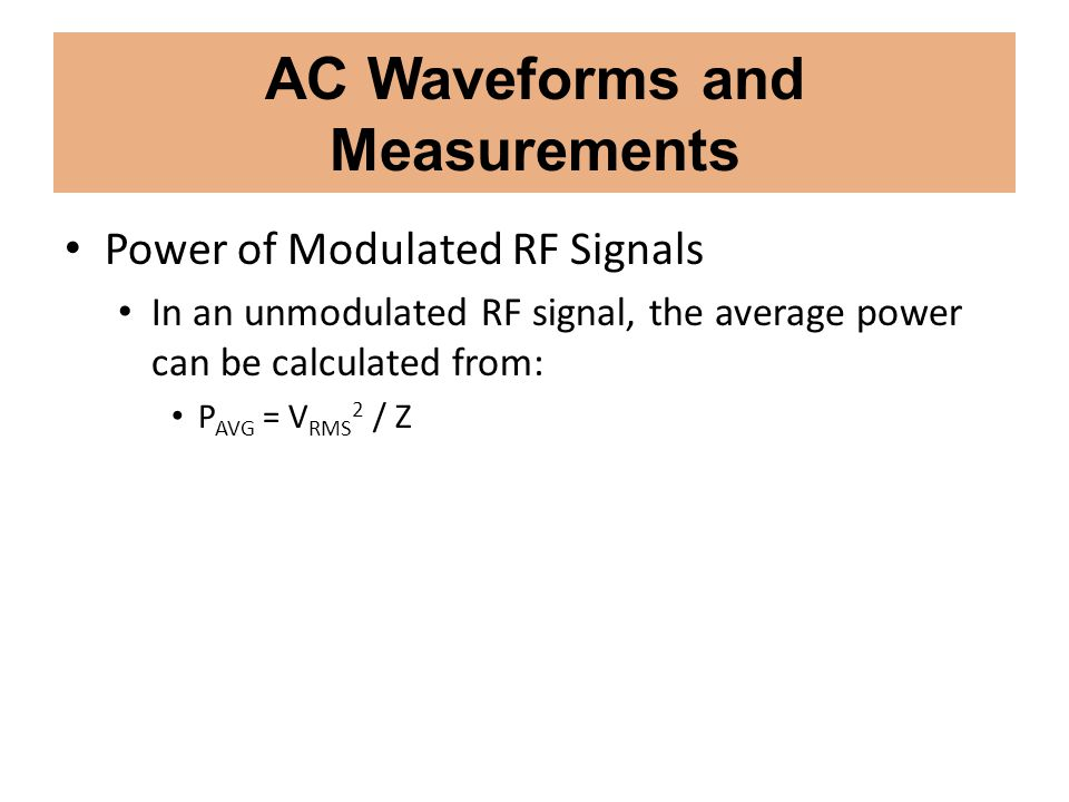 AC Waveforms and Measurements
