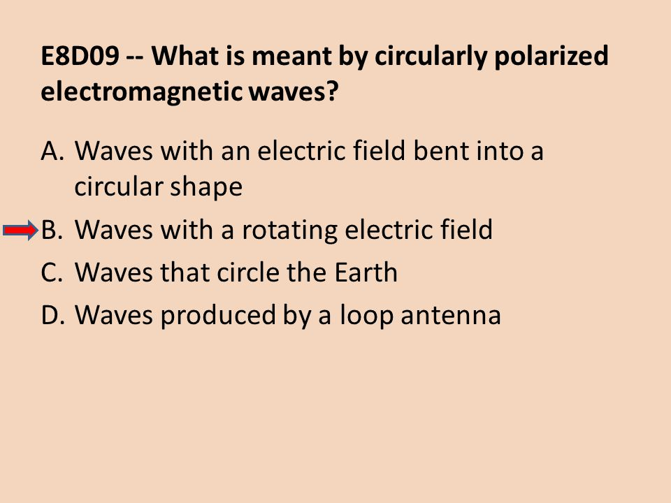 E8D09 -- What is meant by circularly polarized electromagnetic waves
