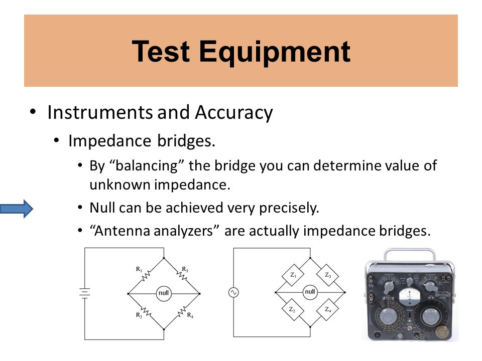 Test Equipment Instruments and Accuracy Impedance bridges.