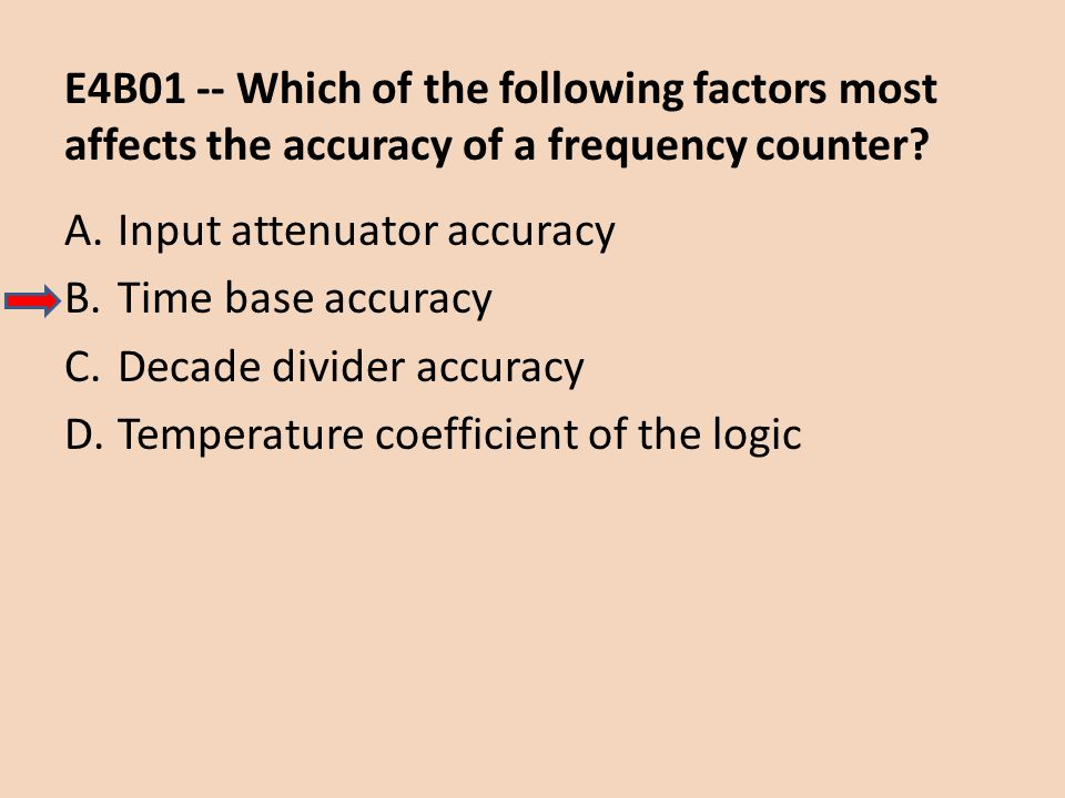 E4B01 -- Which of the following factors most affects the accuracy of a frequency counter