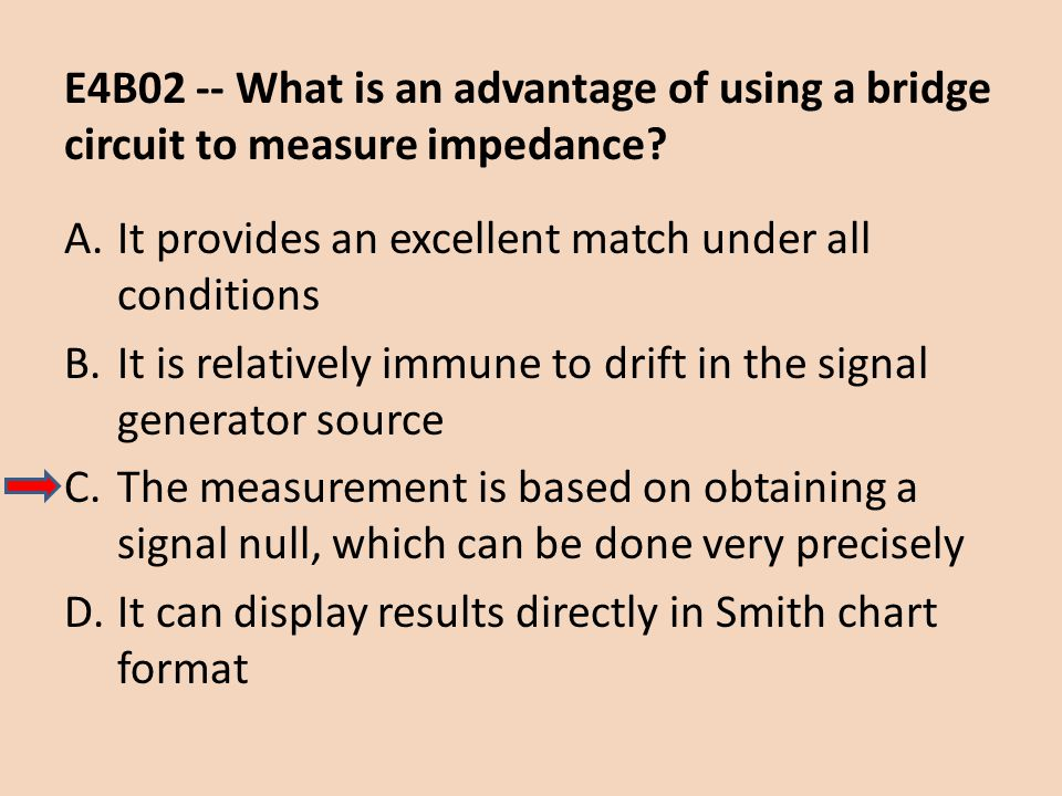 E4B02 -- What is an advantage of using a bridge circuit to measure impedance