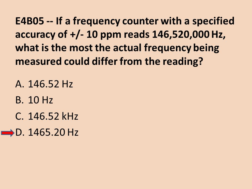 E4B05 -- If a frequency counter with a specified accuracy of +/- 10 ppm reads 146,520,000 Hz, what is the most the actual frequency being measured could differ from the reading