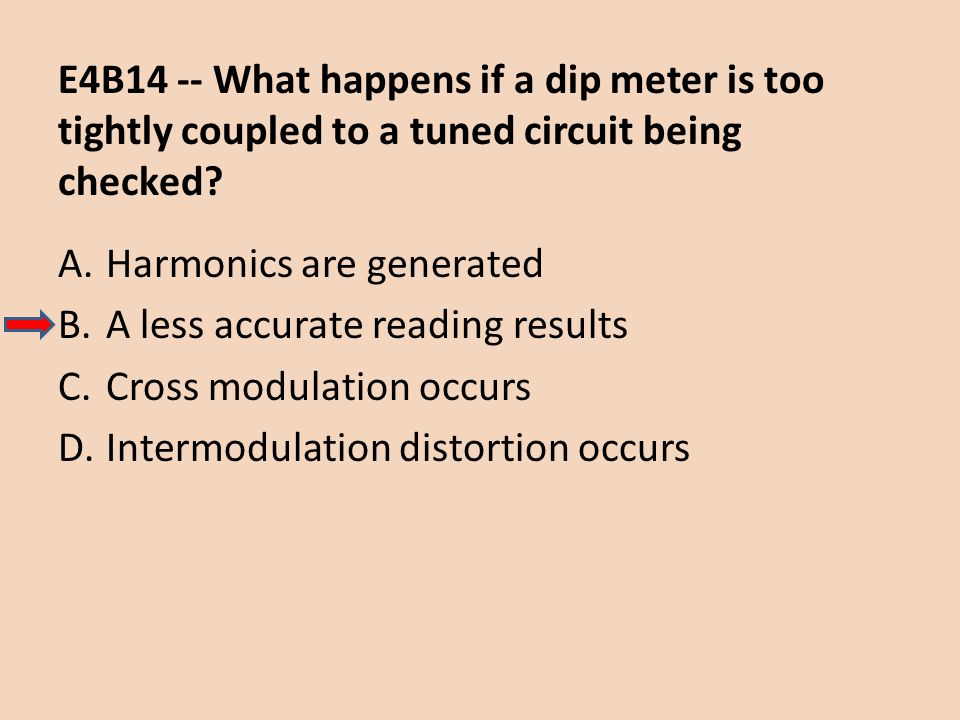 E4B14 -- What happens if a dip meter is too tightly coupled to a tuned circuit being checked