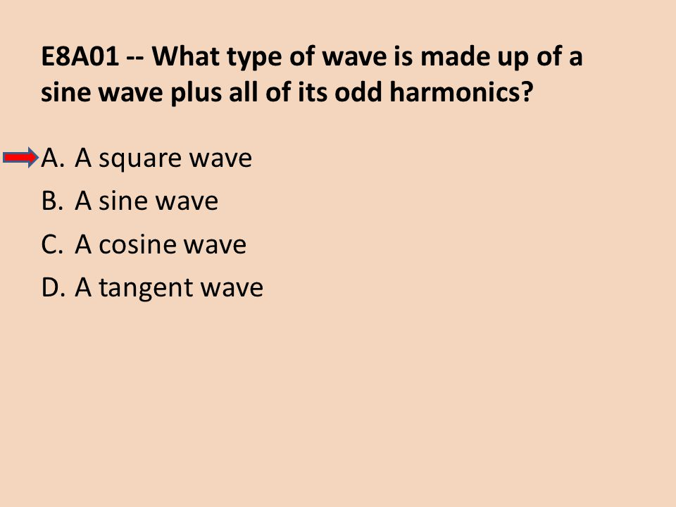 E8A01 -- What type of wave is made up of a sine wave plus all of its odd harmonics