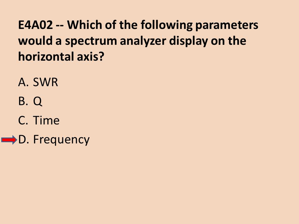 E4A02 -- Which of the following parameters would a spectrum analyzer display on the horizontal axis
