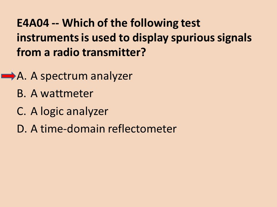 E4A04 -- Which of the following test instruments is used to display spurious signals from a radio transmitter
