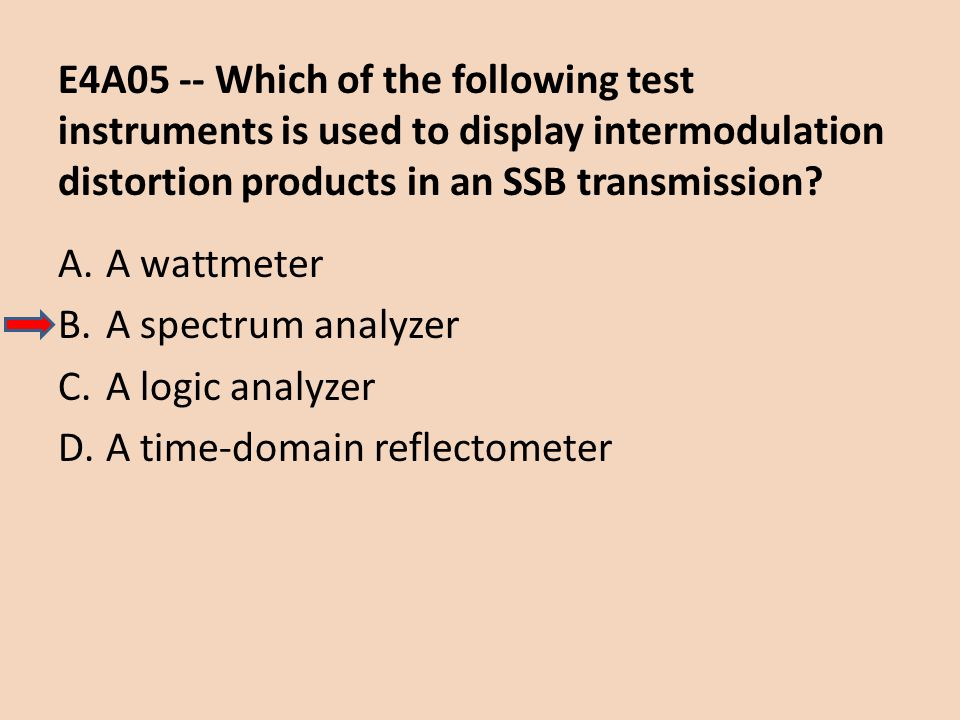 E4A05 -- Which of the following test instruments is used to display intermodulation distortion products in an SSB transmission