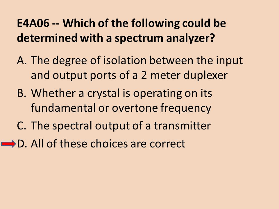 E4A06 -- Which of the following could be determined with a spectrum analyzer