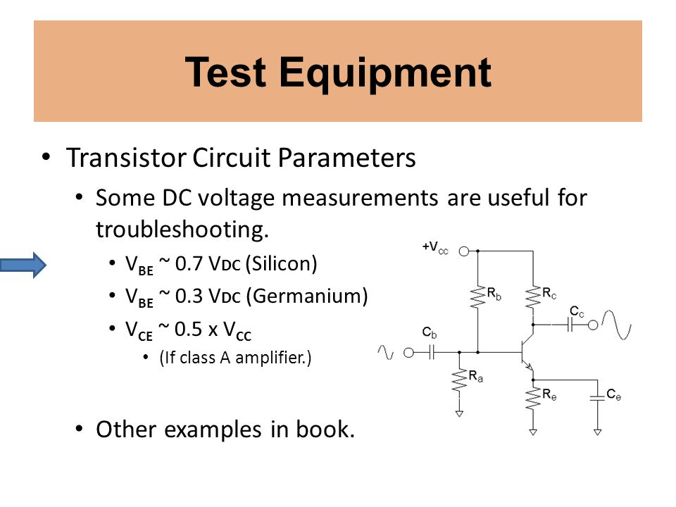 Test Equipment Transistor Circuit Parameters