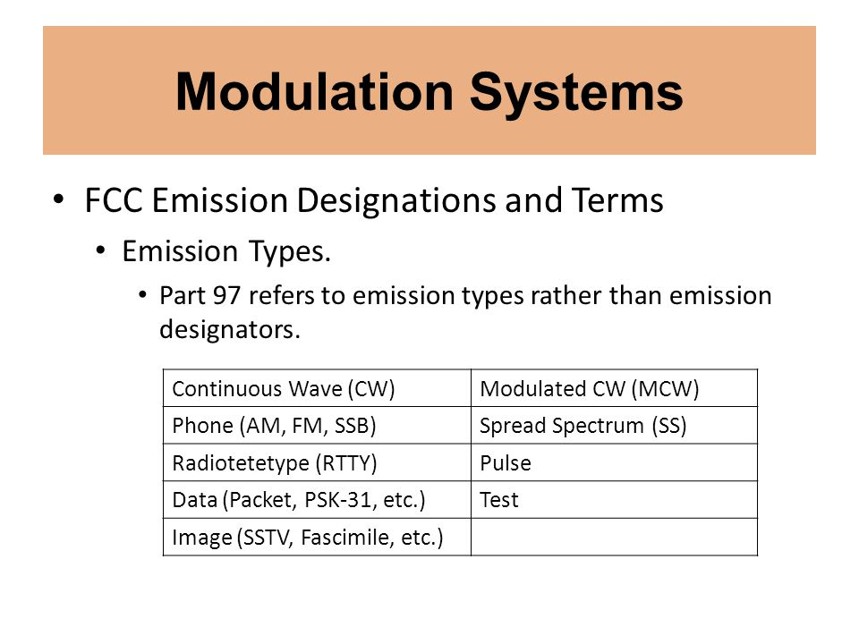 Modulation Systems FCC Emission Designations and Terms Emission Types.