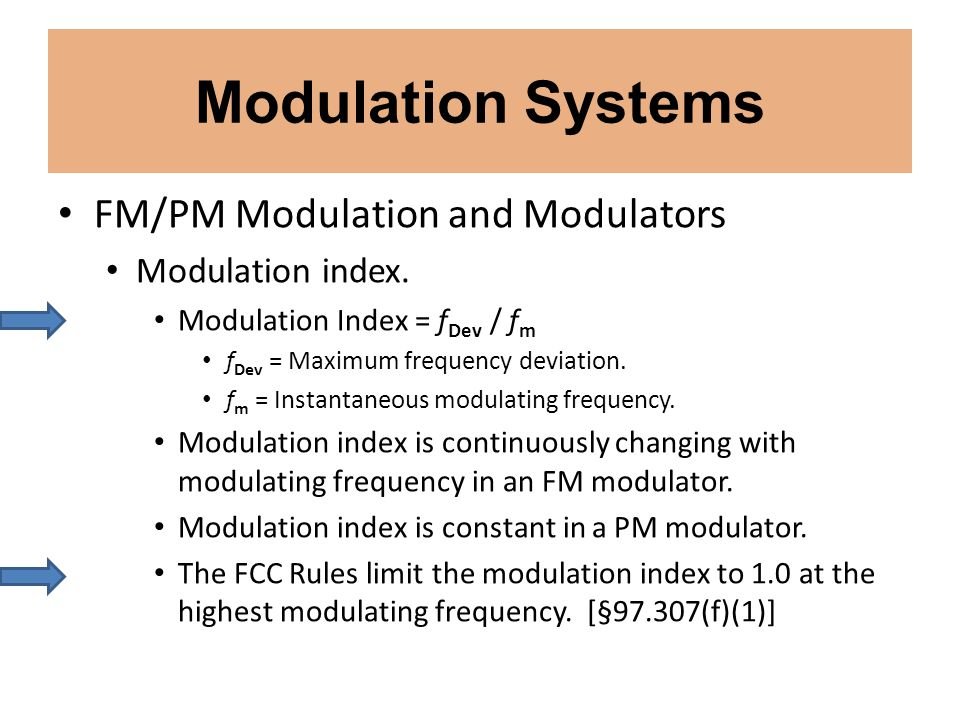 Modulation Systems FM/PM Modulation and Modulators Modulation index.