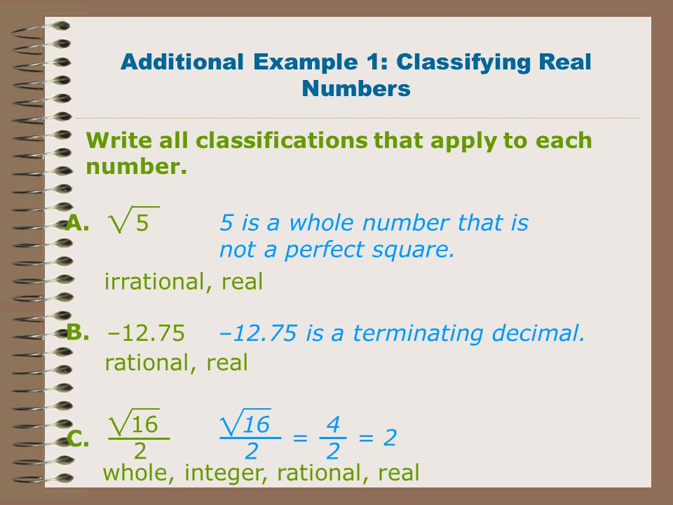 Additional Example 1: Classifying Real Numbers
