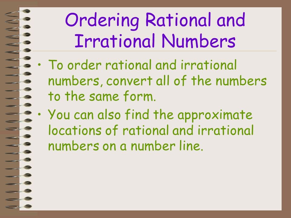 Ordering Rational and Irrational Numbers