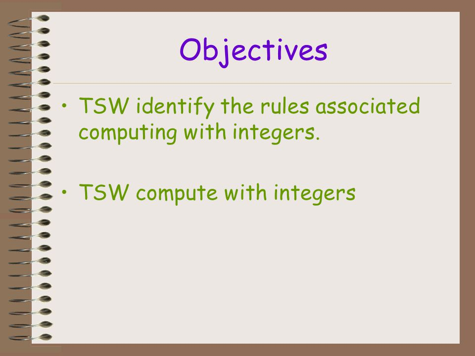 Objectives TSW identify the rules associated computing with integers.