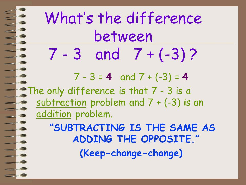 What's the difference between 7 - 3 and 7 + (-3)