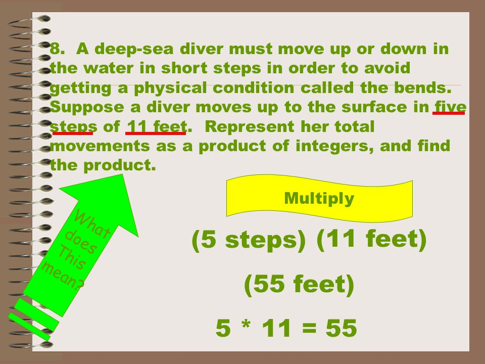 (5 steps) (11 feet) (55 feet) 5 * 11 = 55