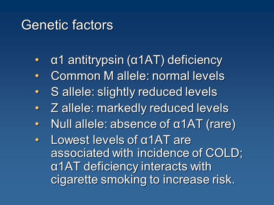 Genetic factors α1 antitrypsin (α1AT) deficiency