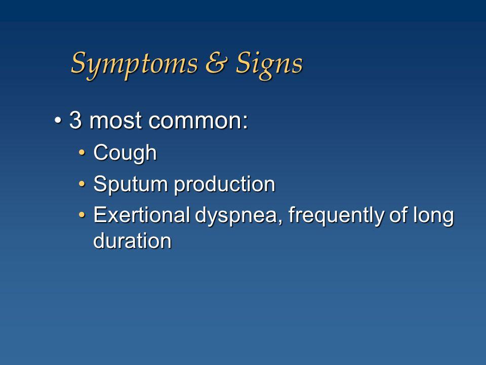 Symptoms & Signs • 3 most common: Cough Sputum production