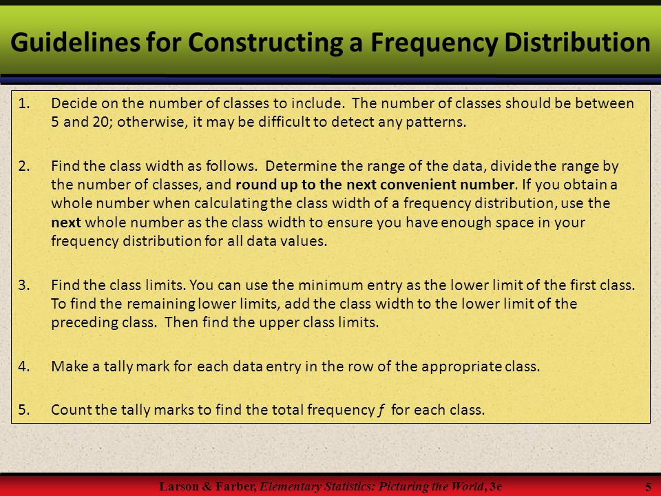 Guidelines for Constructing a Frequency Distribution