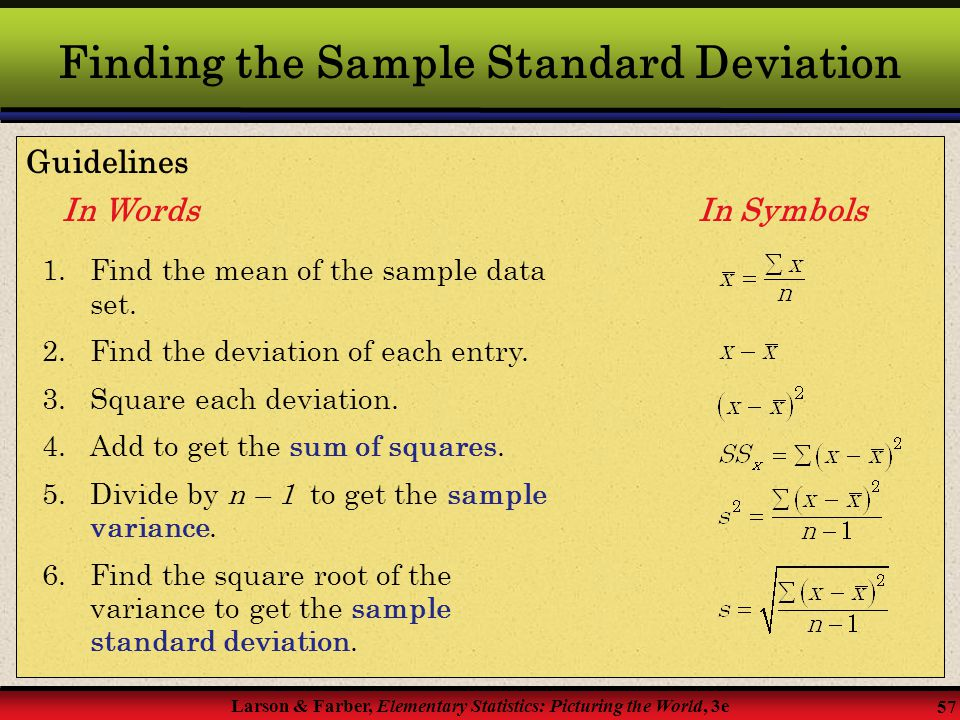 Finding the Sample Standard Deviation