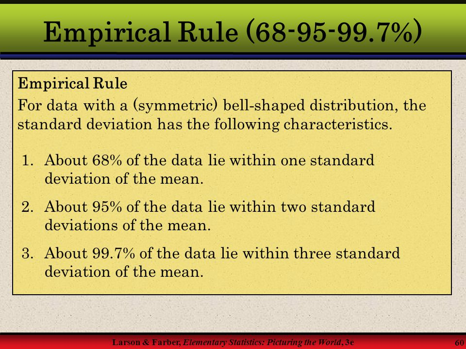 Empirical Rule (68-95-99.7%) Empirical Rule