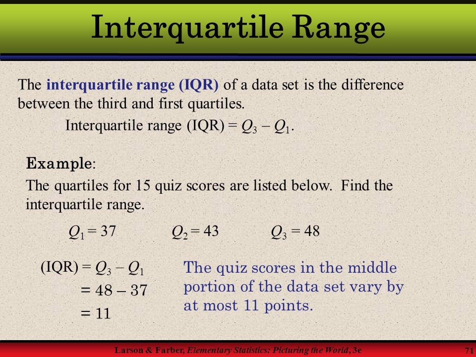 Interquartile Range The interquartile range (IQR) of a data set is the difference between the third and first quartiles.