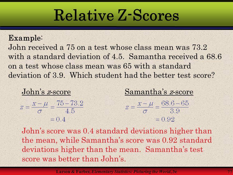 Relative Z-Scores Example: