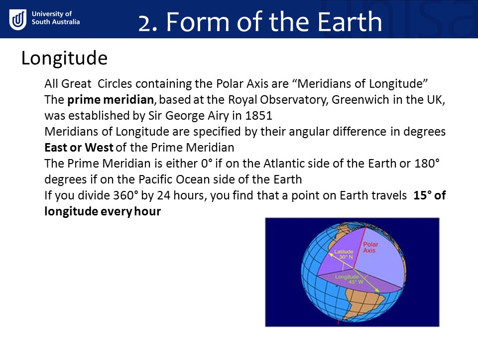 2. Form of the Earth Longitude